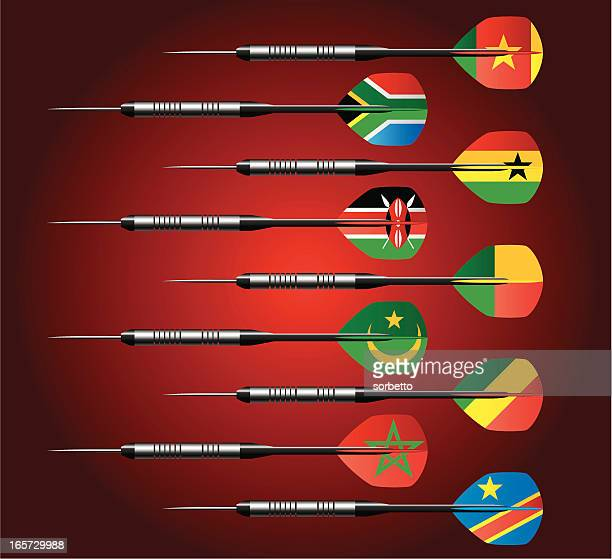 darts collection with national flags - ghana flag stock illustrations, clip art, cartoons, & icons
