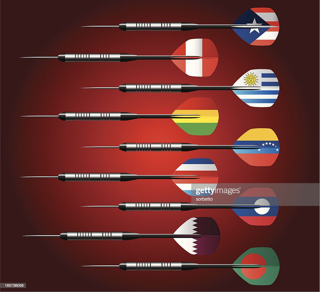 Darts Collection with National Flags : stock illustration