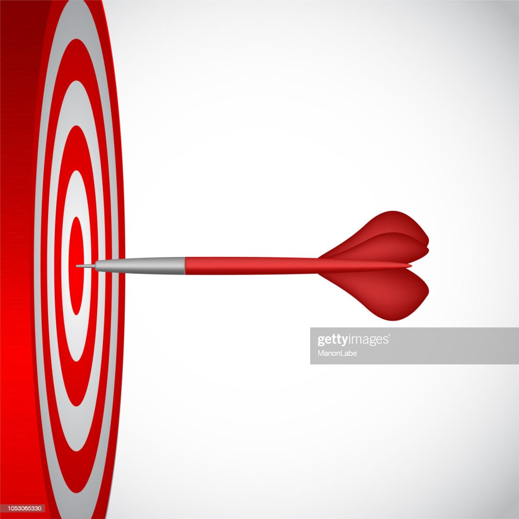 Darts game with round red and white striped target and missile. Symbol of successful actions. Perfect competetive skills, bull's eye score results. Vector concept for luck, accuracy isolated on white.