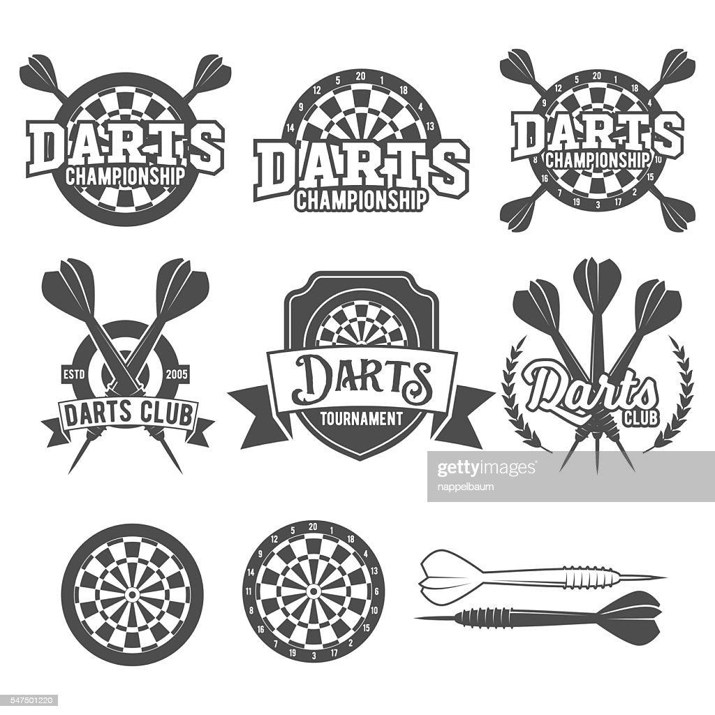 Darts labels set, badge, vector logos