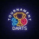 Darts Tournament neon sign. Vector illustration. Bright nightly Darts advertising, neon , symbol, lightweight banner, design template for your projects