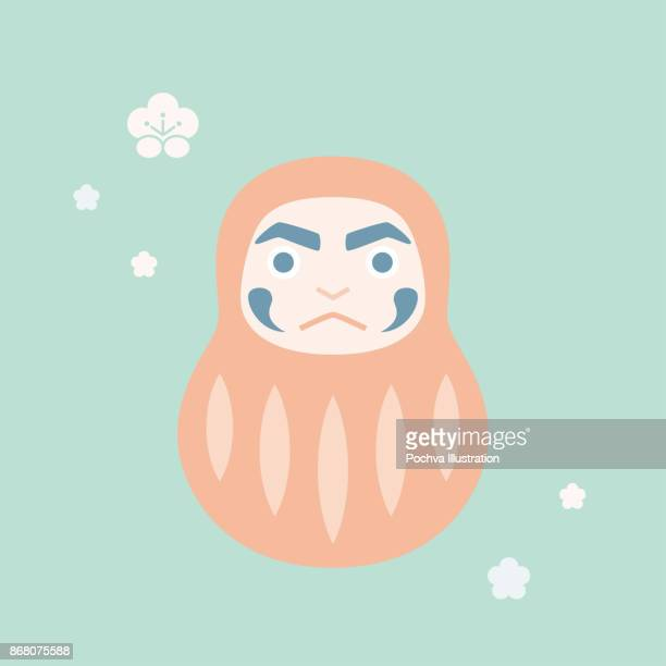 daruma doll vector illustration - only japanese stock illustrations, clip art, cartoons, & icons
