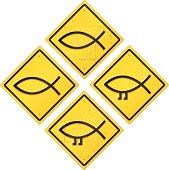 Darwin & Jesus Fish Road Sign Set