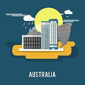 Darwin northern territory historic city Australia illustration design