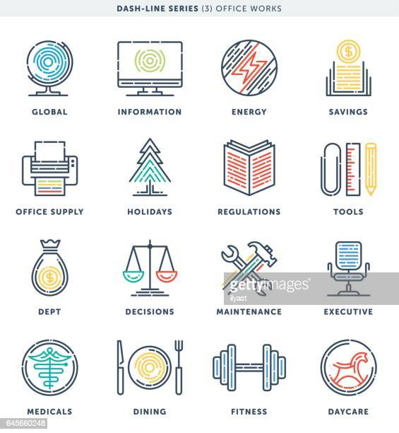 dash line office work icons - ordering stock illustrations, clip art, cartoons, & icons