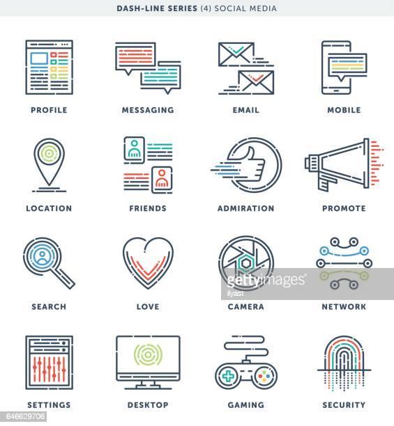 dash line social media icons - guru stock illustrations, clip art, cartoons, & icons