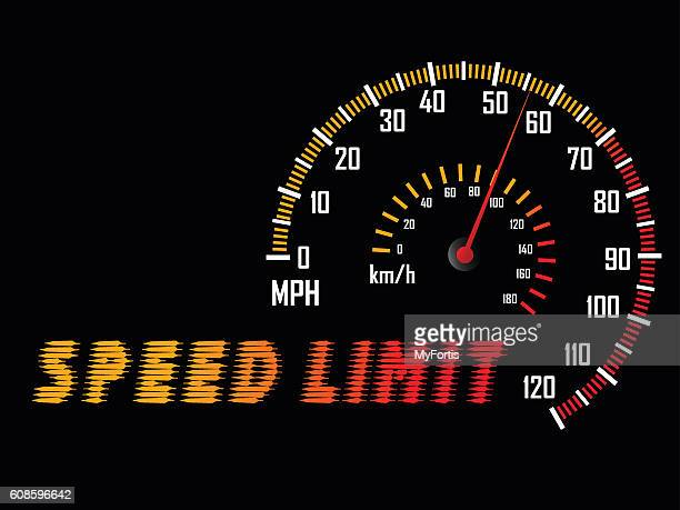 dashboard guage of mile speed limit. - letrac stock illustrations