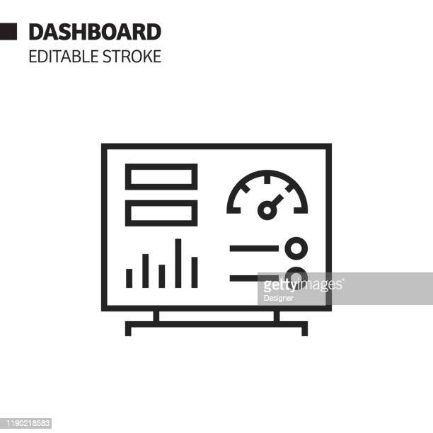 dashboard line icon, outline vector symbol illustration. pixel perfect, editable stroke. - dashboard stock illustrations