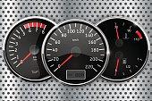 Dashboard - speedometer, tachometer, temperature and fuel gauge