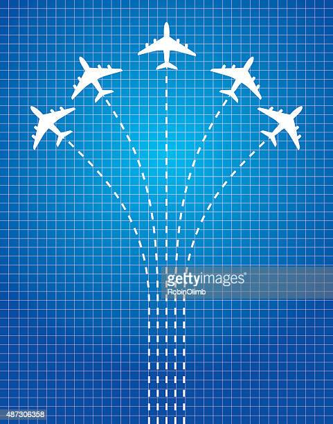 Dashed Line Airplanes
