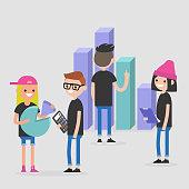 Data analysis conceptual illustration. International millennial team. Flat editable vector, clip art