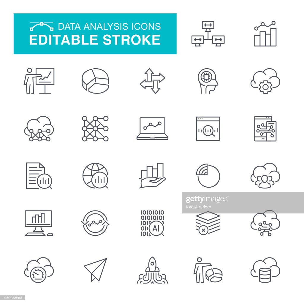 Data Analysis Editable Stroke Icons : stock illustration