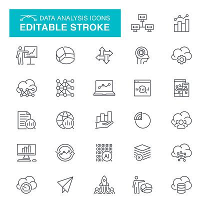 Data Analysis Editable Stroke Icons - gettyimageskorea