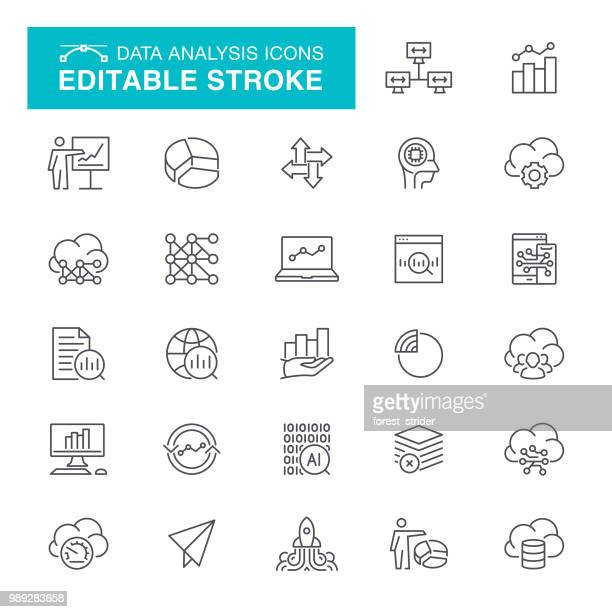 data analysis editable stroke icons - analysing stock illustrations