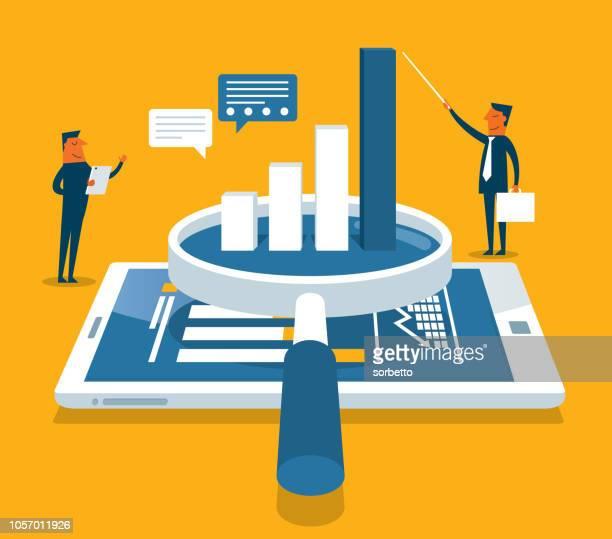 data analysis flat isometric vector concept - big data isometric stock illustrations