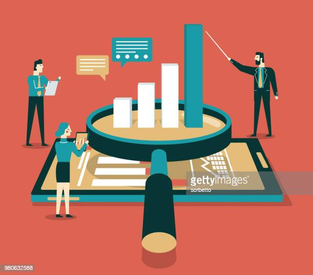 data analysis flat isometric vector concept - making money stock illustrations