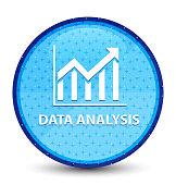 Data analysis (statistics icon) galaxy cyan blue round button