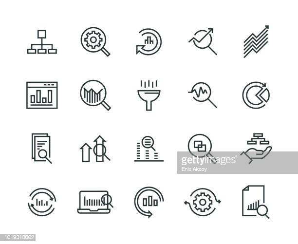 illustrations, cliparts, dessins animés et icônes de analyse de données icon set - loupe