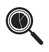 Data analysis icon with magnifying glass and pie chart symbol. Flat style vector EPS.