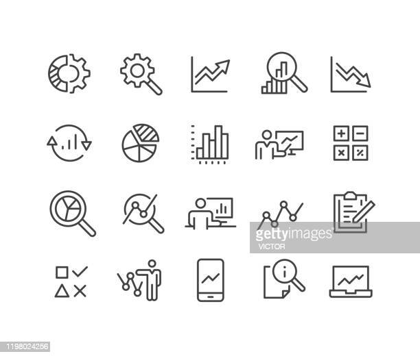illustrazioni stock, clip art, cartoni animati e icone di tendenza di icone di analisi dei dati - serie linea classica - rapporto finanziario