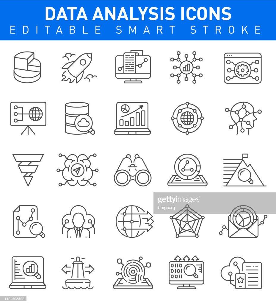 Iconos de análisis de datos. Movimiento editable : Ilustración de stock