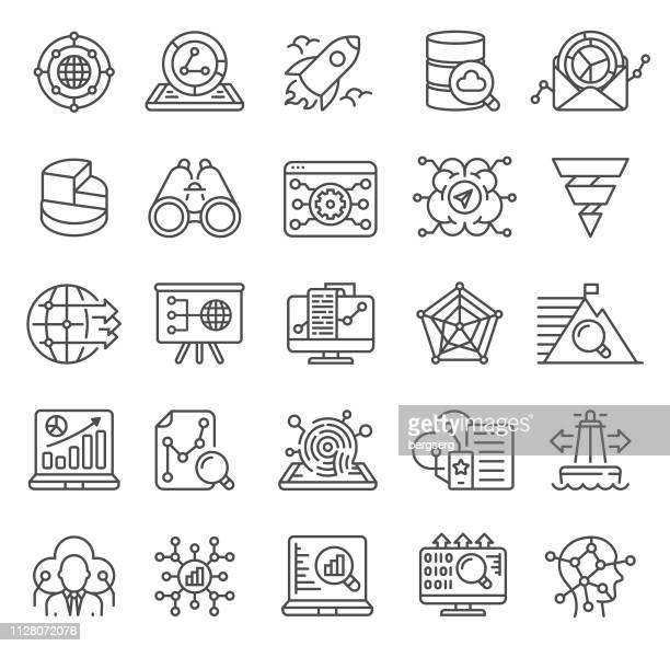illustrazioni stock, clip art, cartoni animati e icone di tendenza di icone di analisi dei dati - rapporto finanziario