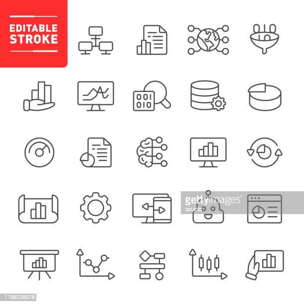 stockillustraties, clipart, cartoons en iconen met pictogrammen voor gegevensanalyse - big data