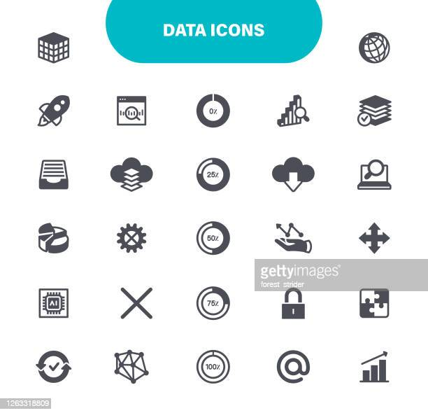 data analysis icons - artificial neural network stock illustrations