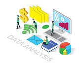 data analysis isometric icons concept,business illustration vector