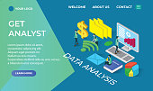 data analysis landing page isometric icons concept,business illustration vector