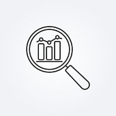 Data analysis line icon with business graph or chart with magnifier.