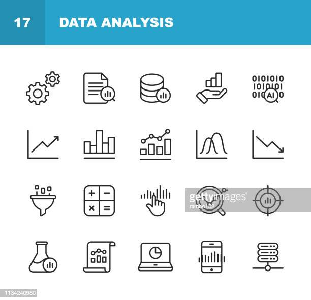 illustrazioni stock, clip art, cartoni animati e icone di tendenza di data analysis line icons. editable stroke. pixel perfect. for mobile and web. contains such icons as settings, data science, big data, artificial intelligence, statistics. - dati