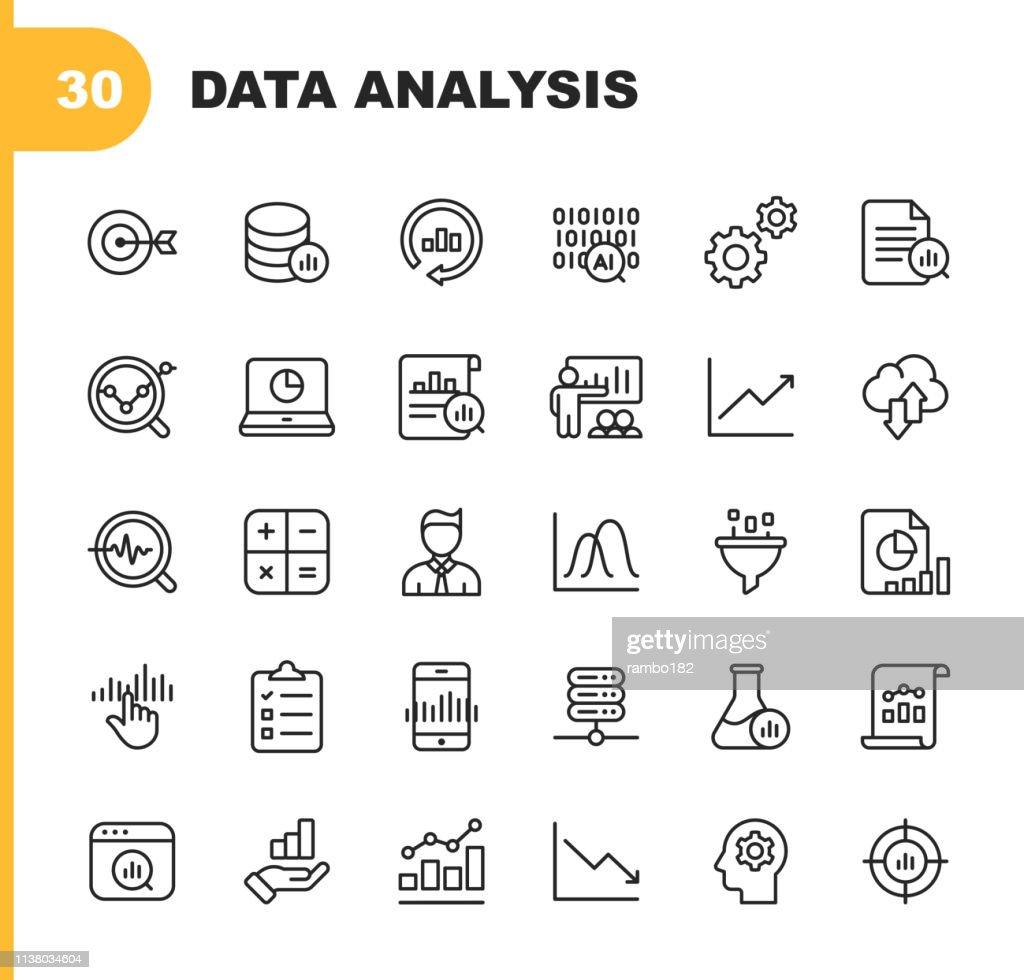 Icone delle linee di analisi dei dati. Tratto modificabile. Pixel Perfetto. Per dispositivi mobili e Web. Contiene icone come Intelligenza Artificiale, Big Data, Cloud Computing, Grafico, Business Analyst. : Illustrazione stock