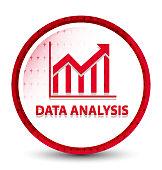 Data analysis (statistics icon) misty frozen red round button
