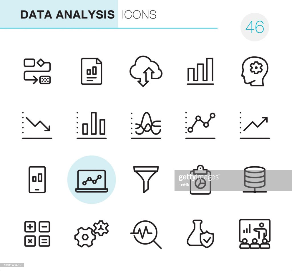 Data Analysis - Pixel Perfect icons : stock illustration
