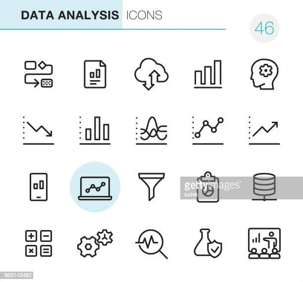 data analysis - pixel perfect icons - icon set stock illustrations
