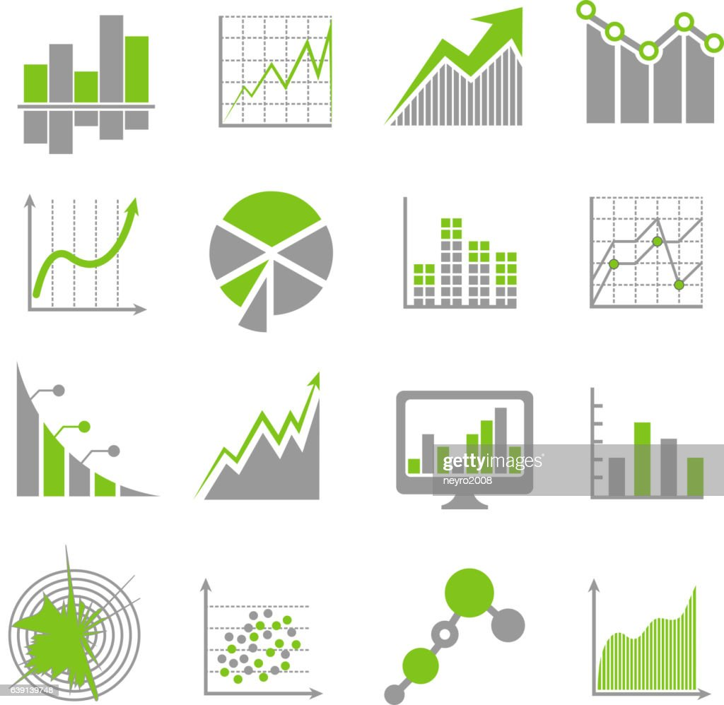 Data analysis signs and financial business analytics vector icons