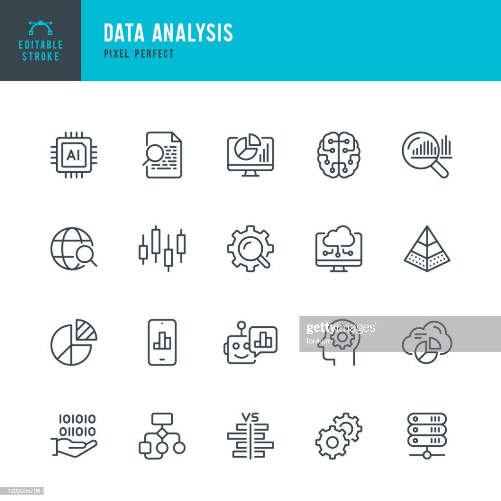 Analyse de données - jeu d'icône vectorielle à ligne mince. Pixel parfait. Accident vasculaire cérébral modifiable. L'ensemble contient des icônes : Big Data, Intelligence Artificielle, Graphique, Puce informatique, Diagramme, Cloud Computing, Rappor : Illustration