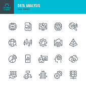 Data Analysis - thin line vector icon set. Pixel perfect. Editable stroke. The set contains icons: Big Data, Artificial Intelligence, Chart, Computer Chip, Diagram, Cloud Computing, Progress Report, Stock Market Data.