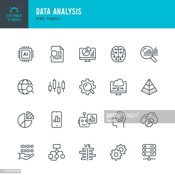 data analysis - thin line vector icon set. pixel perfect. editable stroke. the set contains icons: big data, artificial intelligence, chart, computer chip, diagram, cloud computing, progress report, stock market data. - icon set stock illustrations