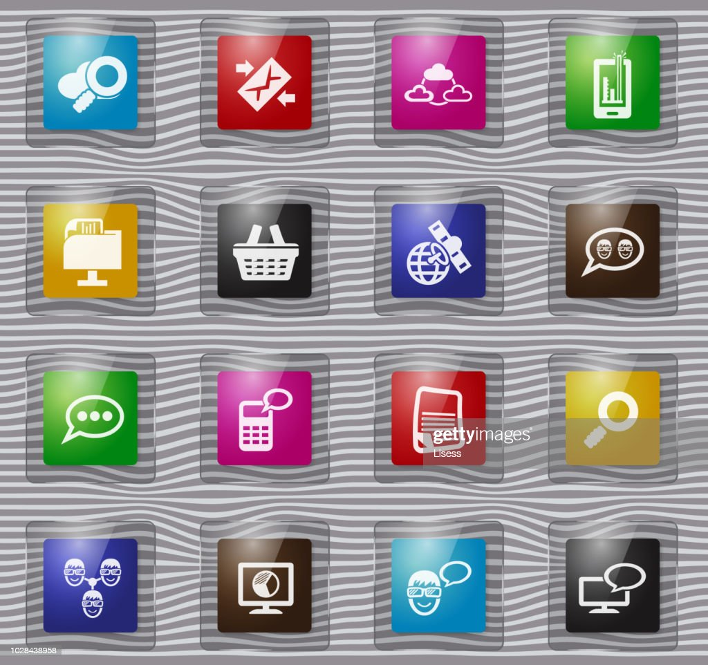 Data analytic and social network glass icons set