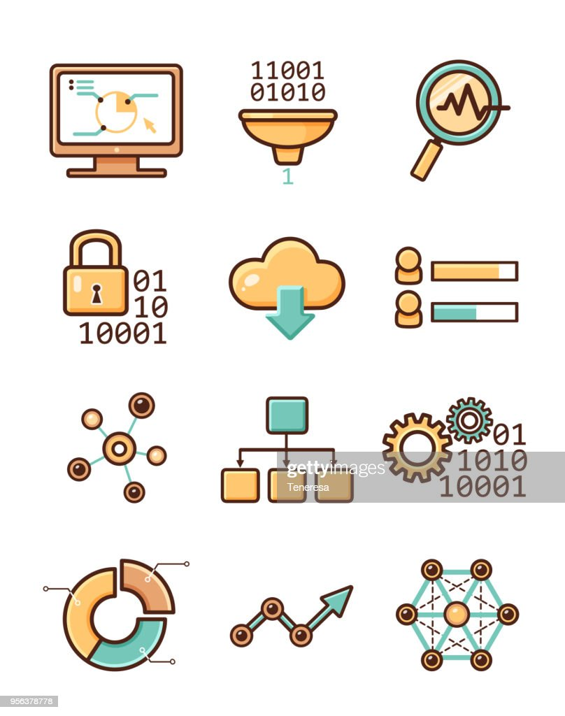 Data analytic vector icons set