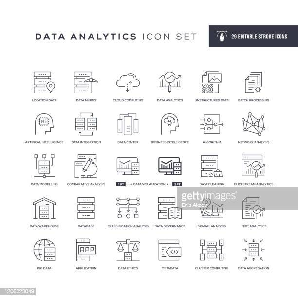 illustrazioni stock, clip art, cartoni animati e icone di tendenza di data analytics editable stroke line icons - dati