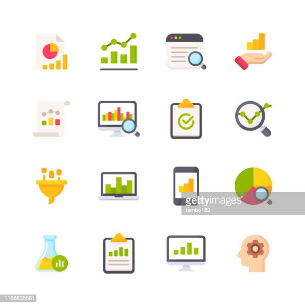 data analytics flat icons. material design icons. pixel perfect. for mobile and web. contains such icons as data analytics, financial report, statistics, economy, bar chart, pie chart. - trading stock illustrations