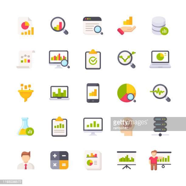 illustrazioni stock, clip art, cartoni animati e icone di tendenza di icone piatte per l'analisi dei dati. icone di progettazione del materiale. pixel perfetto. per dispositivi mobili e web. contiene icone quali analisi dati, report finanziario, statistiche, economia, grafico a barre, grafico a torta. - rapporto finanziario