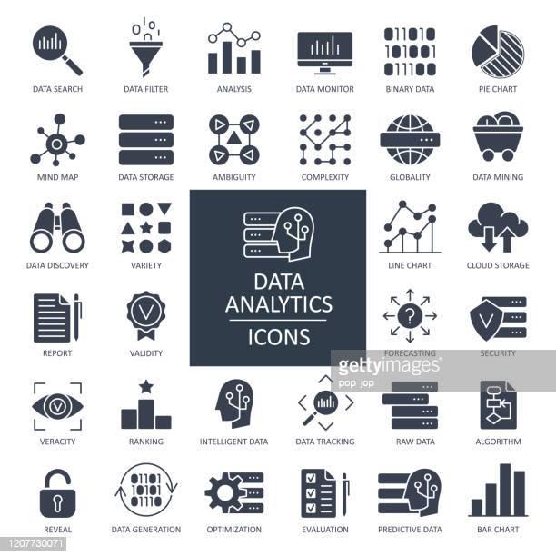 illustrations, cliparts, dessins animés et icônes de data analytics glyph icons - vecteur - activité