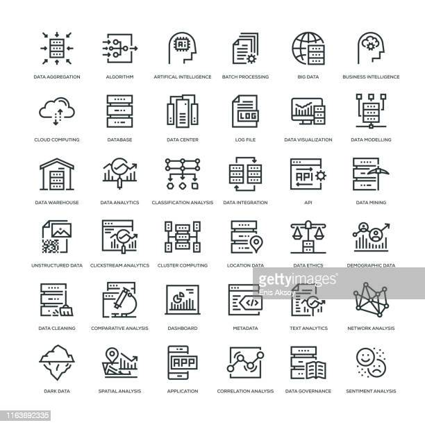 data analytics icon set - analysing stock illustrations