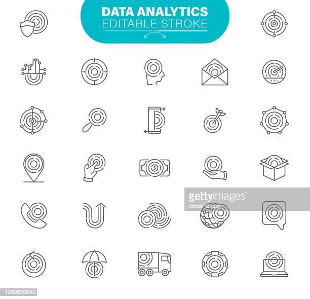 data analytics icons editable stroke - artificial neural network stock illustrations