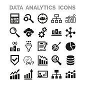 Data analytics icons set on white background.