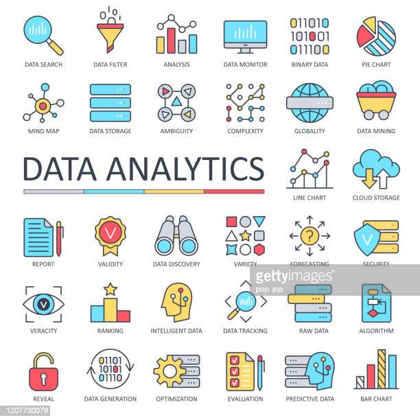 data analytics line color icons - vector - binary code stock illustrations